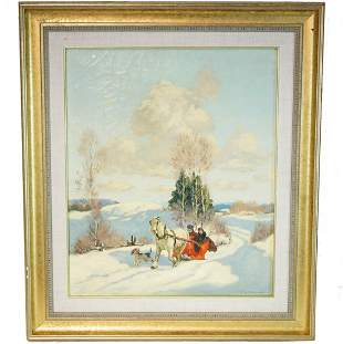 Frederic S. Coburn Red Sleigh Painting