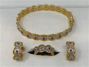 Franklin Mint set of bracelet, earrings and ring 14k