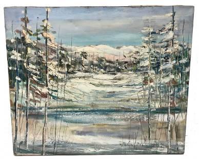 Paul Emile genest Winter Scene Painting