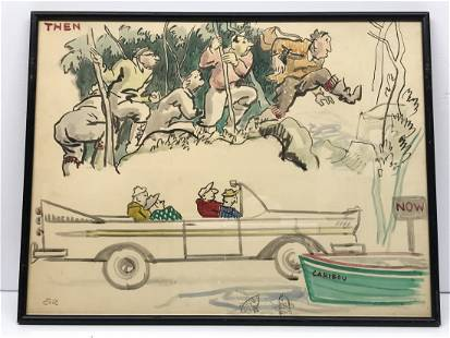 Eric Goldberg 1890-1969 Watercolor Then and Now
