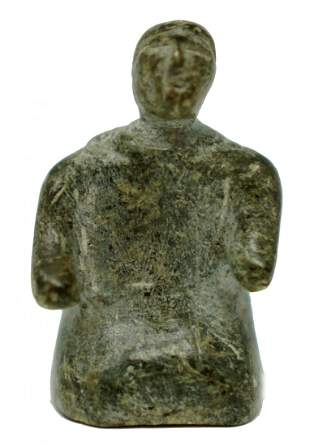 Inuit Soapstone Carving of Kneeling Woman
