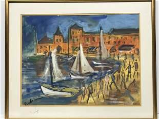 Roland Dubuc 1924-1998 Voilier au Port