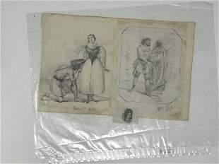 Paul Cesaire Gariot 1811-1880 Pencil Drawing