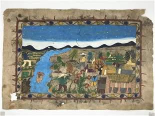 Antique American Folk Art Painting