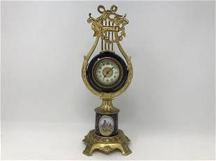 Bronze Ormolu and Blue Cobalt Porcelain Lyra Clock