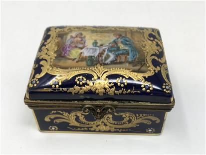 Sevres Porcelain Trinket Box Feeding Baby