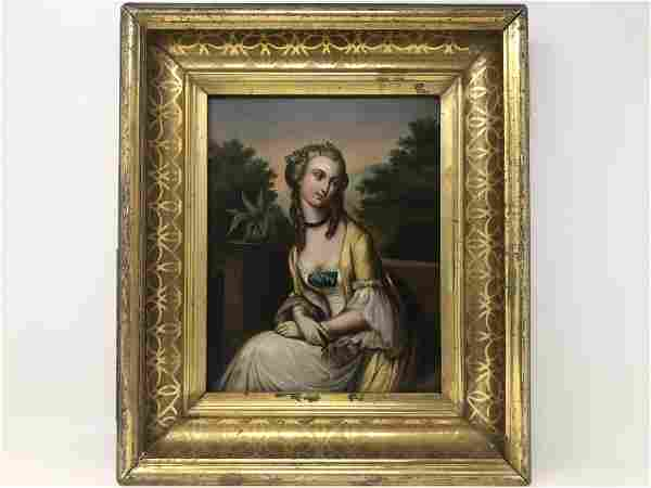 Oil Painting on Plaque 19th century portrait of lady