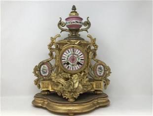 Gilt Metal & Porcelain French Mantle Clock Henry Marc