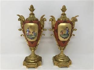 Pair of Bronze Ormolu & Porcelain Urns