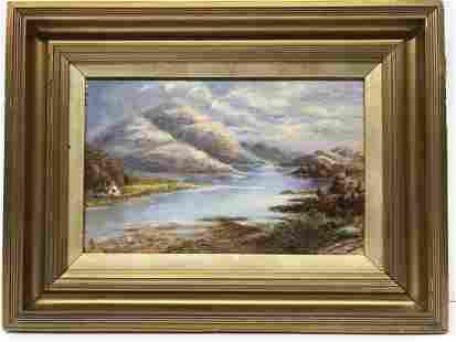 British M. Lee Mountain Lake Painting