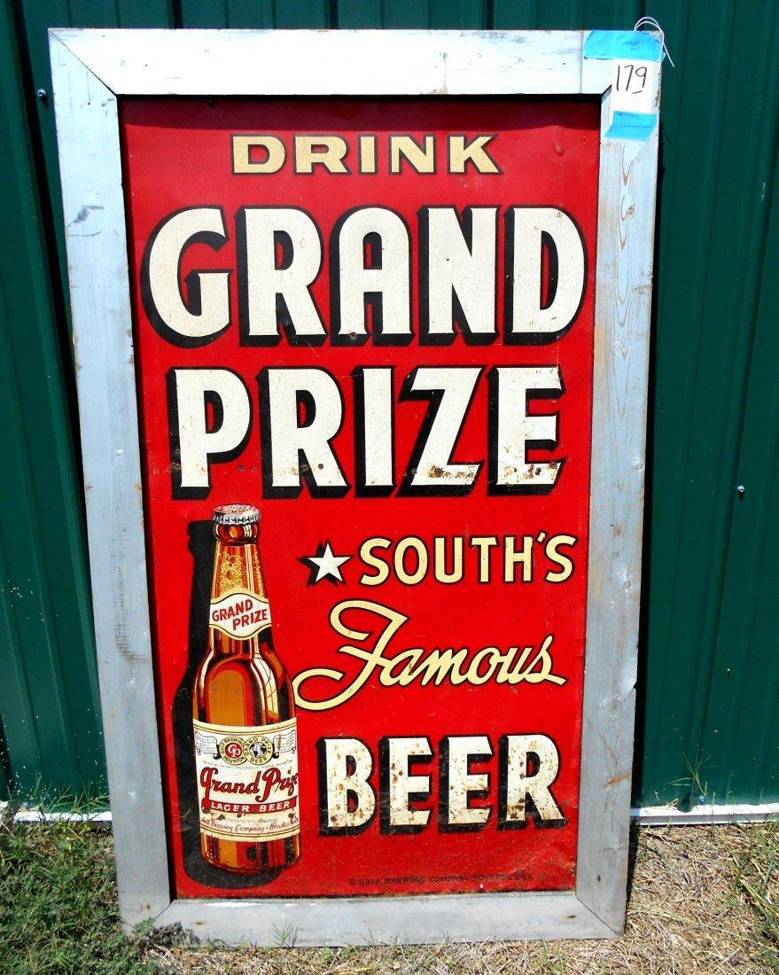 GRAND PRIZE BEER Enameled Sign