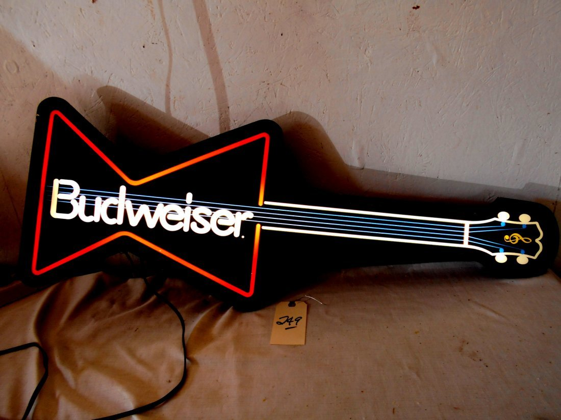 BUDWEISER BEER Guitar Shaped Neon Sign