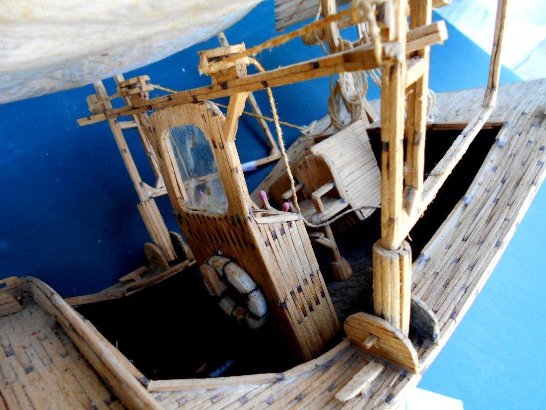 Match Stick Shrimp Boat Model - Vintage Folk Art - 10