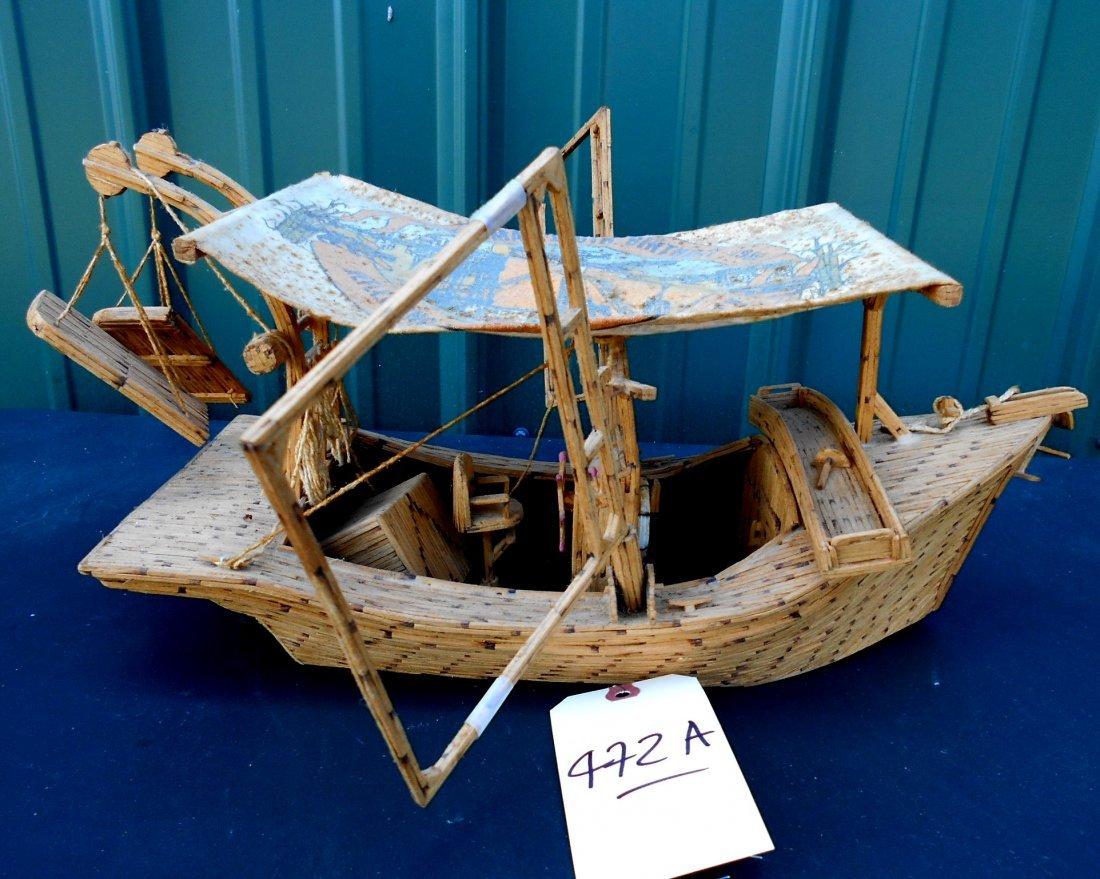 Match Stick Shrimp Boat Model - Vintage Folk Art