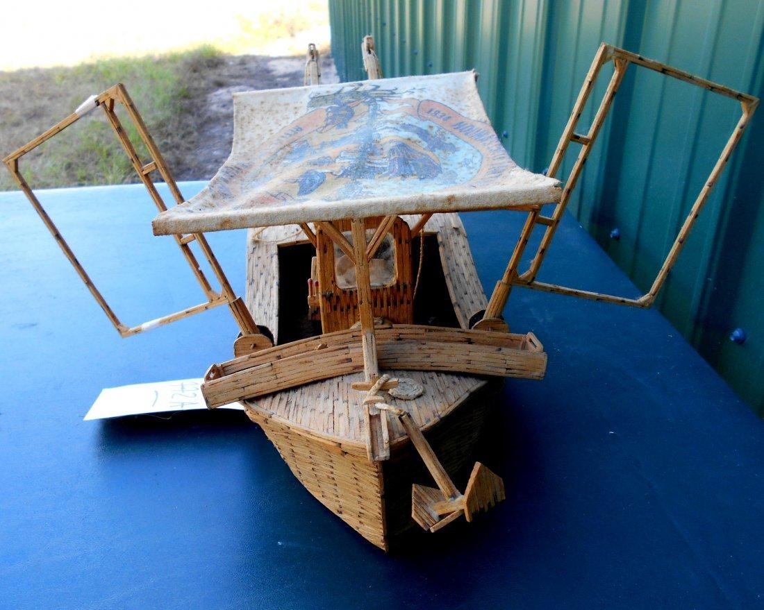 Match Stick Shrimp Boat Model - Vintage Folk Art - 4