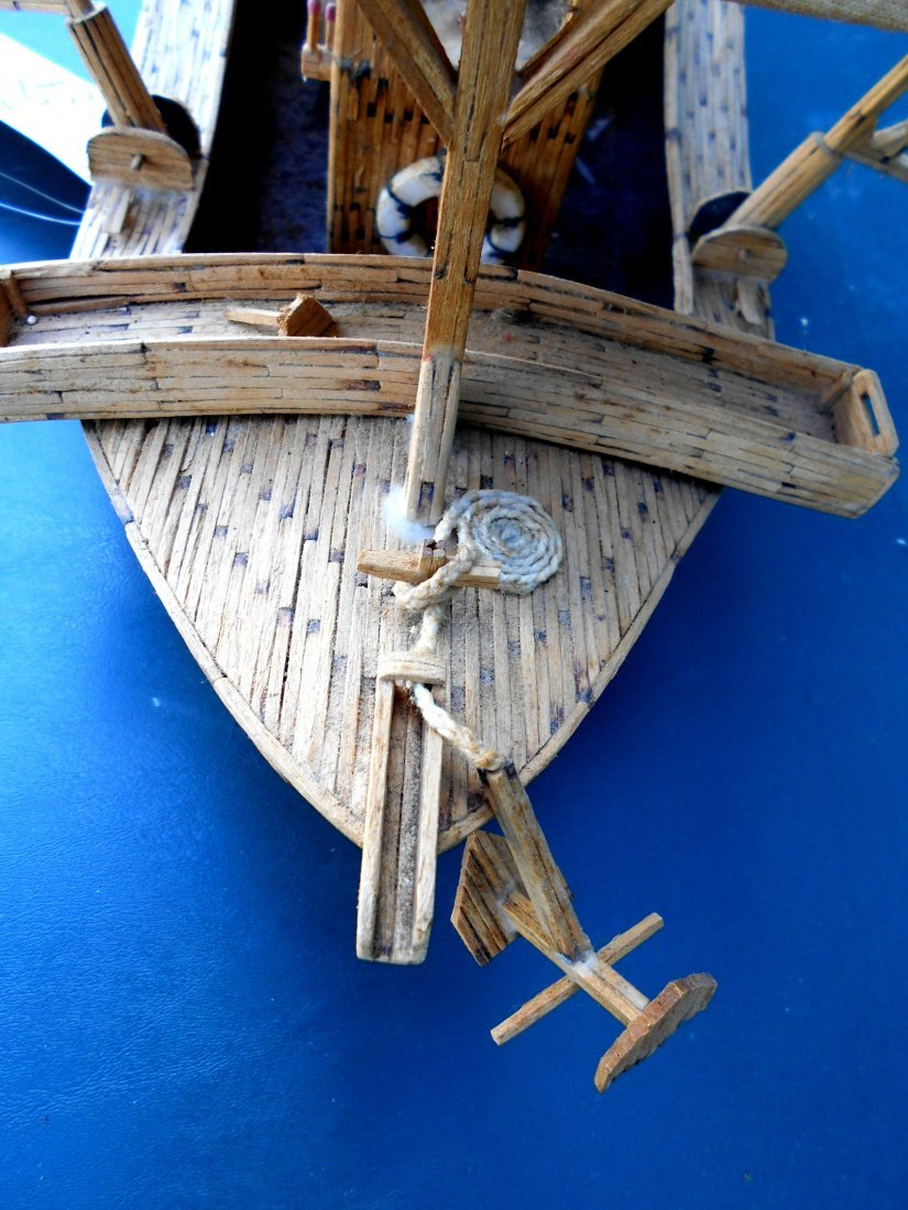 Match Stick Shrimp Boat Model - Vintage Folk Art - 5