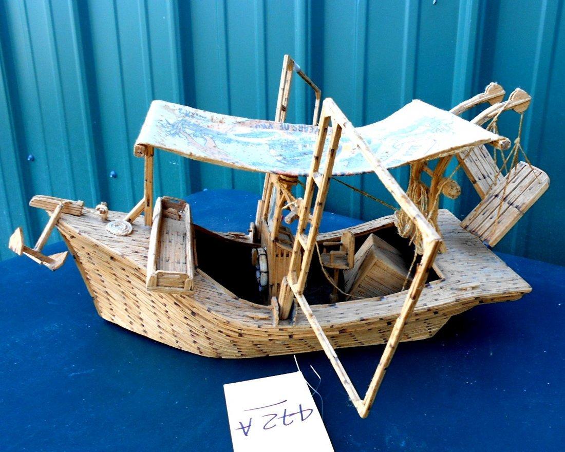 Match Stick Shrimp Boat Model - Vintage Folk Art - 6