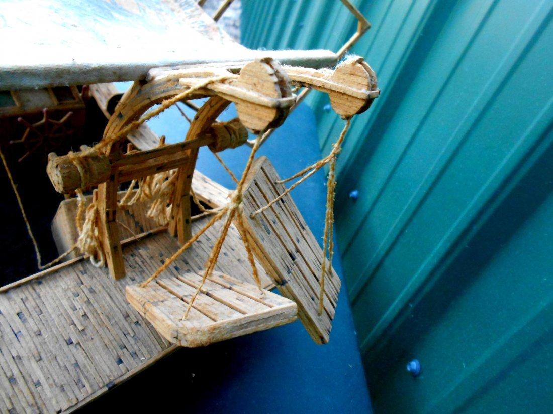 Match Stick Shrimp Boat Model - Vintage Folk Art - 7