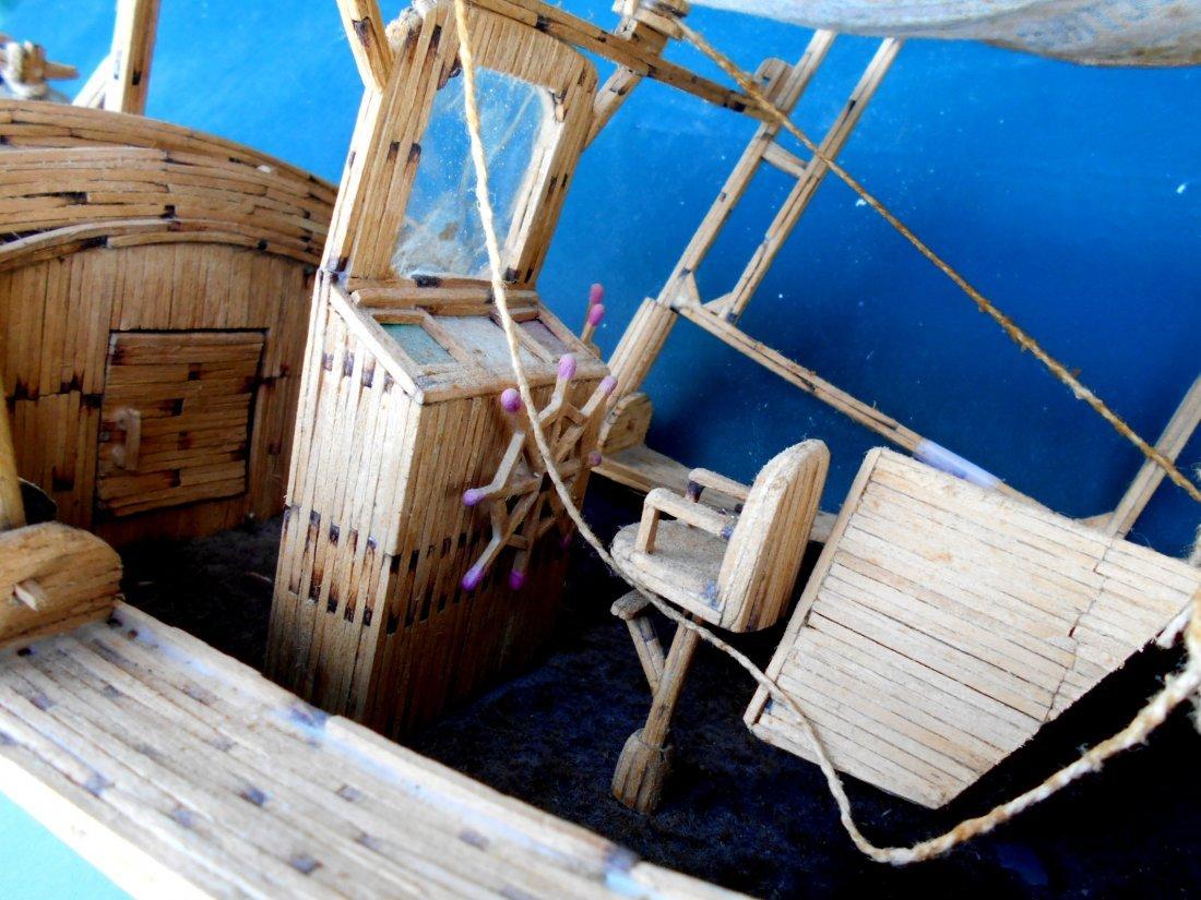 Match Stick Shrimp Boat Model - Vintage Folk Art - 8