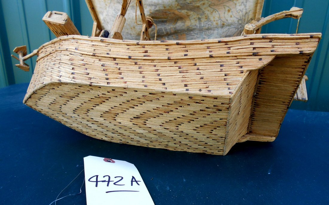 Match Stick Shrimp Boat Model - Vintage Folk Art - 9