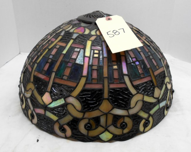 reproduction stained glass lamp shade only lot 587. Black Bedroom Furniture Sets. Home Design Ideas