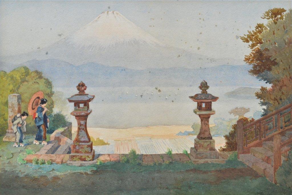 Mt. Fuji, watercolor, 19th Century