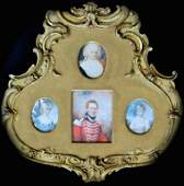 Framed Group of Four English Portrait Miniatures