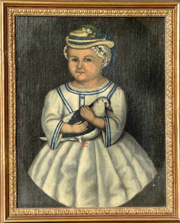 Folk Portrait of Girl with Bird
