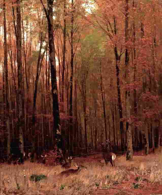 Barbizon Style Painting with Deer