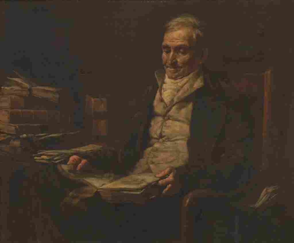 Painting of Old Man Reading
