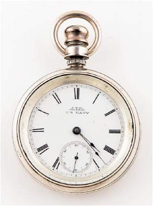 WALTHAM POCKET WATCH, ENGRAVED R.E. PEARY American