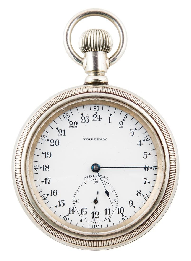 SIDEREAL POCKET WATCH, ENGRAVED R.E. BYRD Waltham Watch
