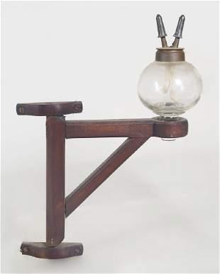 RARE 19TH C. WHALE OIL LAMP Globular blown glass lamp,