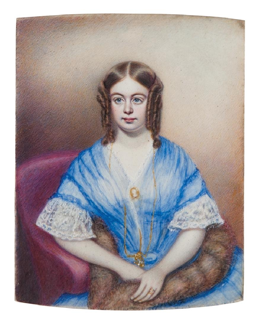 19TH C. WATERCOLOR ON IVORY Young lady with blue eyes,