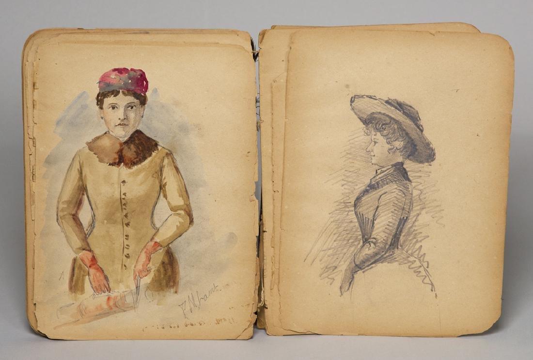 19TH C. SKETCH BOOK F.M. Lamb, pencil sketches of