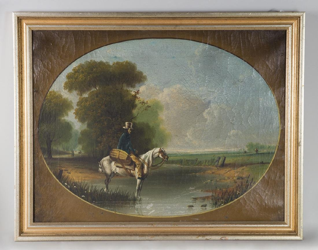 19TH C. OVAL PAINTING Oil on canvas of a gentleman in a