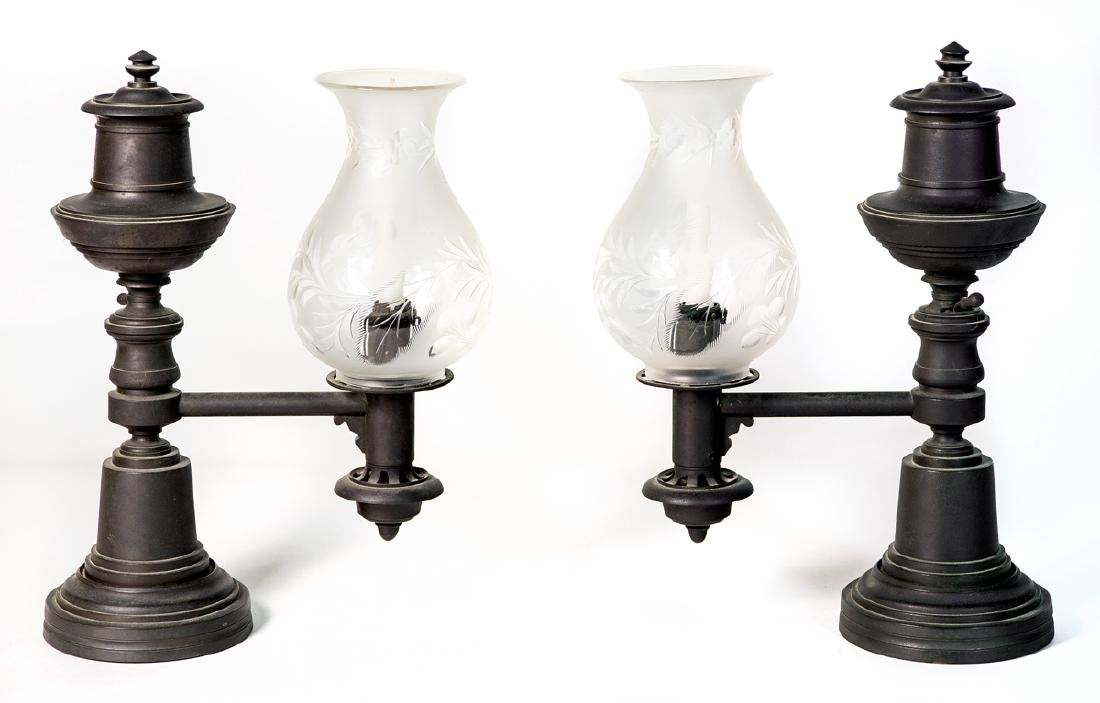 PAIR OF 19TH C. BRONZE ARGON LAMPS Urn form on