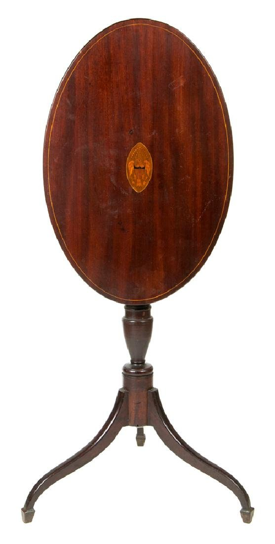 IMPORTANT OVAL TOP CANDLESTAND Late 18th/early 19th c.