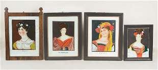 FOUR EARLY 19TH C. EUROPEAN PORTRAITS Framed reverse