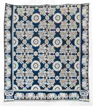 19TH C. BLUE AND WHITE COVERLET Summer/winter jacquard