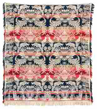 19TH C. COVERLET Red, white, blue and green, two exotic