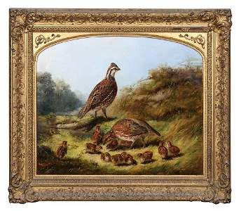 IMPORTANT 19TH C. PAINTING BY A.F. TAIT Oil on canvas,
