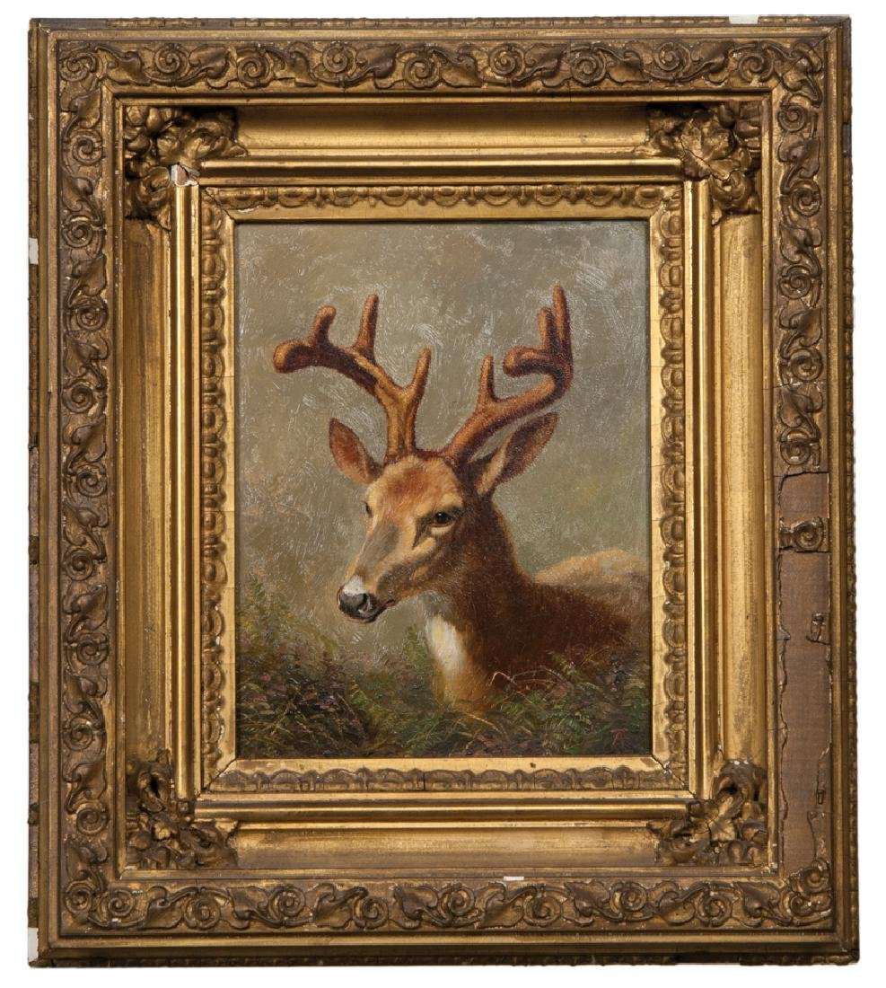 19TH C. PAINTING BY A.F. TAIT Oil on board, showing an
