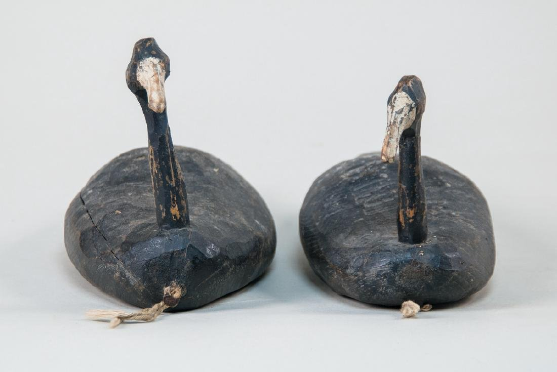 ROOT HEAD DECOYS Pair of early Folk Art carved root