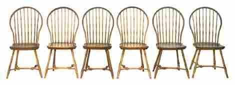 RARE SET OF SIX WINDSOR SIDE CHAIRS Boston bow backs,