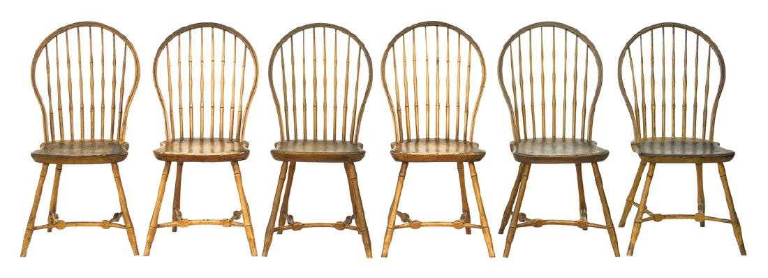 RARE SET OF SIX WINDSOR SIDE CHAIRS Boston bow backs,
