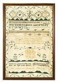 18TH C. SCHOOL GIRL NEEDLEWORK SAMPLER New England,