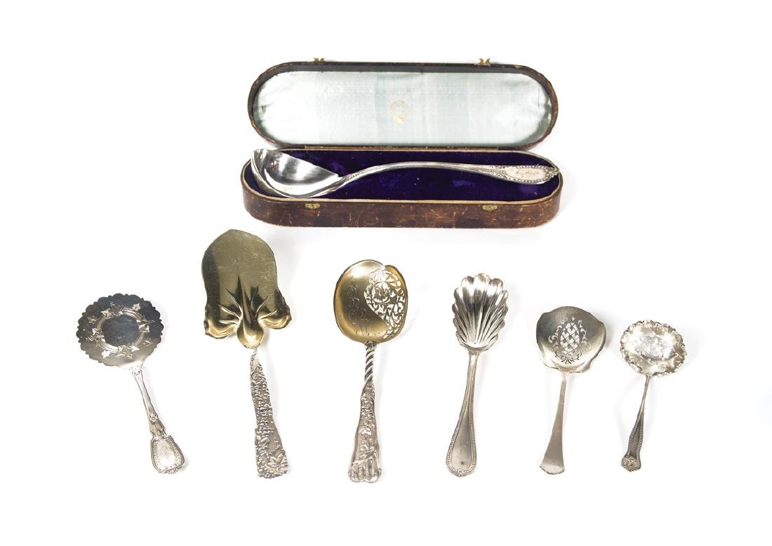 SEVEN STERLING SILVER SERVING PIECES Including a