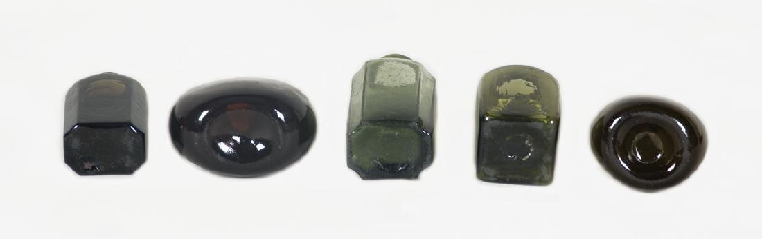 "FIVE 19TH C. BOTTLES Snuff in very dark olive, 4 1/2"" h; - 2"