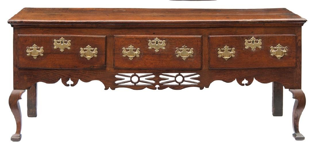 19TH C. ENGLISH CHIPPENDALE SERVER Very fine oak